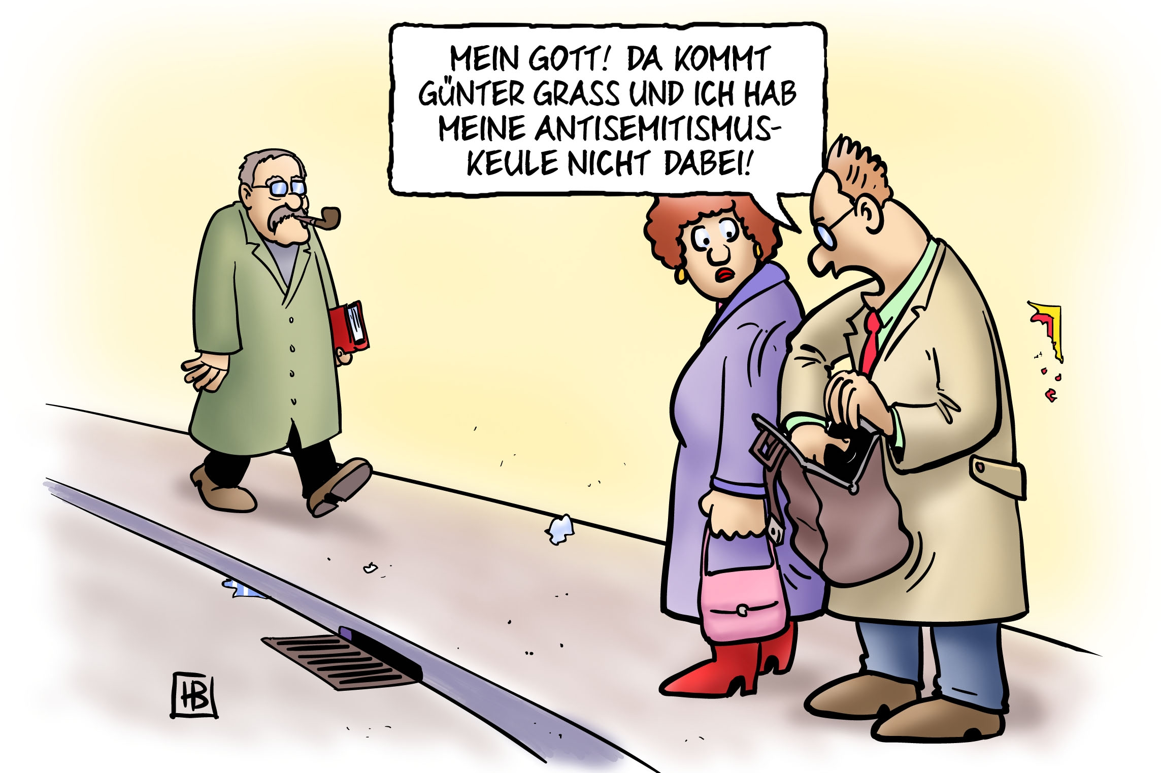 Günter Grass war jemand, an dem sich auch <strong>Karikaturisten</strong> abgearbeitet haben.